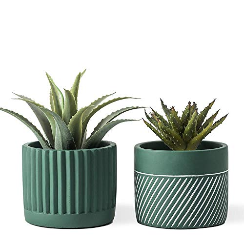DOMDO Cement Planter Pot - 5.5 Inches Vintage Style Planters Bonsai Containers Unglazed Medium Concrete Planters for Home Indoor Decor with Drain Hole Oblique Patterned Flowerpot, Green, Set of 2