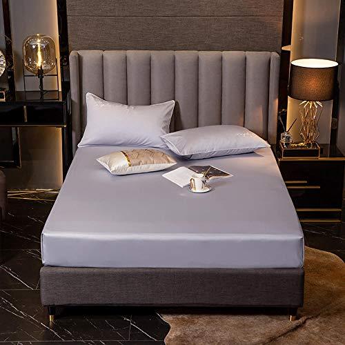 XGguo Protector de colchón de bambú Funda de colchón y Ajustable Sábana de algodón a Prueba de Polvo-Champagne Silver_150 * 200 + 30cm
