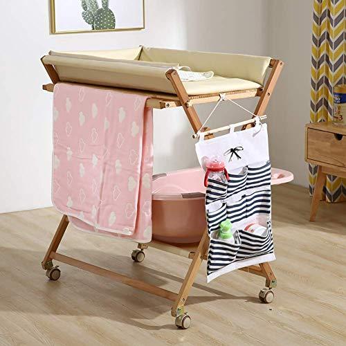 BBNBY Baby veranderen tafel dressoir op wielen, hout opvouwbare zorg luier station voor baby pasgeborene, tafel hoogte verstelbaar (kleur: roze)