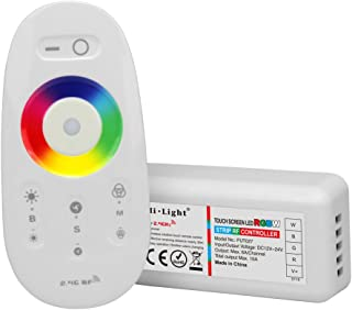 Mi.Light RGBW LED 2.4GHz RF Wireless Remote+Controller Receiver Box 12-24V,Compatible With 5050 3528 RGBW LED Strip Lights,Also Can Be Controlled By Smartphone APP Via Mi.Light WiFi iBox1 & iBox2