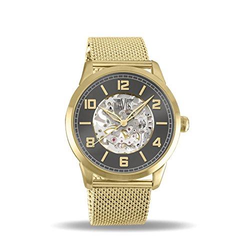 Davis - Herren Damen Skeleton Uhr Mechanisch Skelett mit sichtbarem Uhrwerk Mesh Armband (Gold)