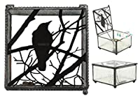 "Ebros Gothic Silhouette Raven Glass Jewelry Box 4"" Wide Raven Crow On Tree Branch Trinket Secret Box"