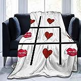 GOSMAO Ultra Soft Micro Fleece Durable Tic TAC Toe Love! Mantas de Tiro Sábana Suave y cálida para Cama Ropa de Cama Sofá Oficina Sala de Estar Decoración del hogar 60X80 Inch