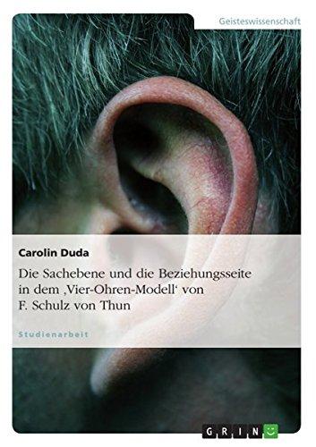 Die Sachebene und die Beziehungsseite in dem \'Vier-Ohren-Modell\' von F. Schulz von Thun