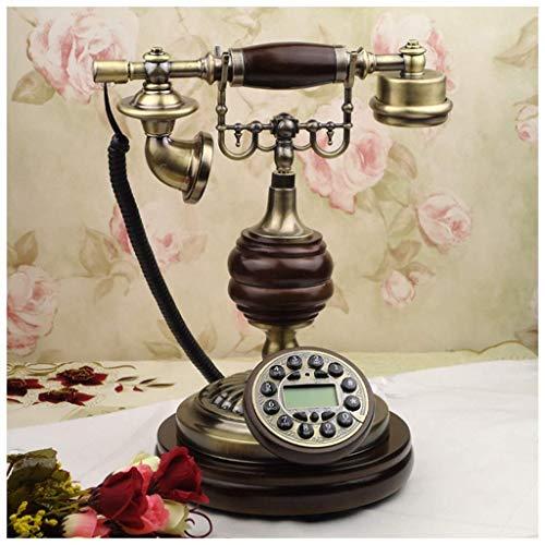 YUBIN Teléfono Teléfono de Madera Maciza BLU-Ray Manos Libres Bronce Antiguo Retro Creativo Teléfono Clásico Línea Línea (Color: A) (Color : A)