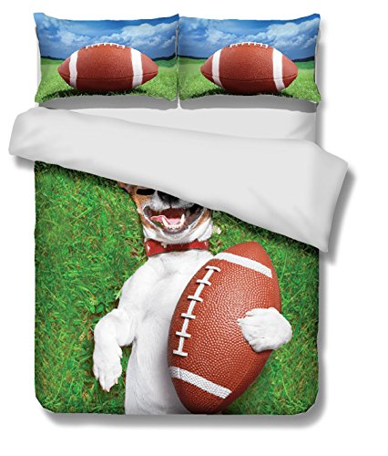 Rugby and dog 3D Bedding Set Print Duvet cover set lifelike bed sheet #2 (double)