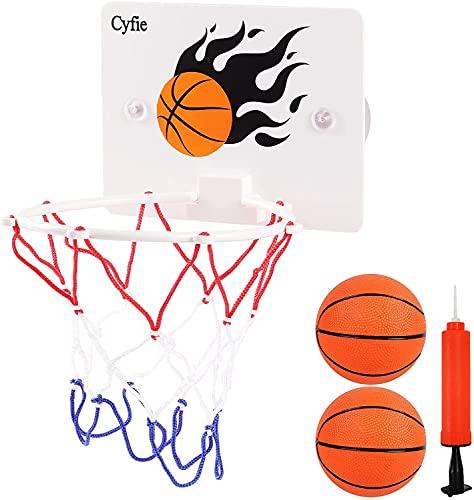 CYFIE Mini Basketball Korb Set, Mini Basketballkorb mit Bälle und Pumpe Büro Basketballkorb mit Saugnapf Mini Basketball Brett für Büro, Zimmer, Schlafzimmer, Badezimmer oder Toilette
