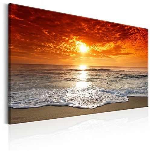 murando Cuadro en Lienzo Playa y Mar 120x80 cm - 1 Parte Impresión en Material Tejido no Tejido Impresión Artística Imagen Gráfica Decoracion de Pared Puesta de Sol c-B-0264-b-a