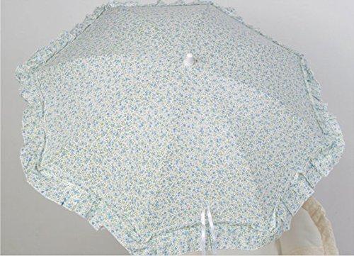 Sombrilla para silla de paseo + flexo universal. Parasol flor de libertid celeste