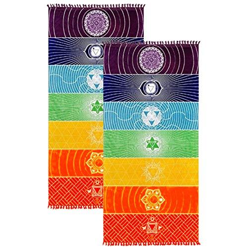 Juego de 2 toallas de yoga para meditación, meditación, chakras mexicanos, borlas, 149,9 cm (poliéster, 149,9 cm x 76,2 cm)