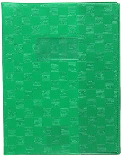 Calligraphe (gamme scolaire Clairefontaine) 71105AMZC - Un protège-cahier grain madras 17x22 cm 22/100ème avec porte-étiquette et marque-pages, en PVC (plastique) opaque, Vert
