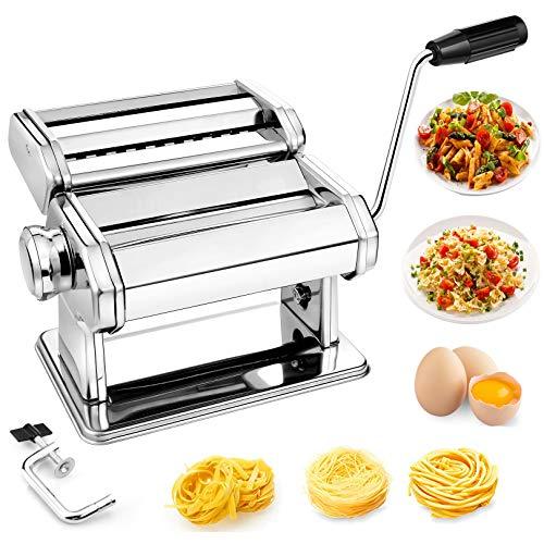 Pasta MakerTOOLUCK Manual Pasta Maker Machine With Hand Crank And Dough Cutter Attachment7 Adjustable Pasta Rolling Setting For Handmade Fresh PastaSpaghetti Fettuccini Lasagna