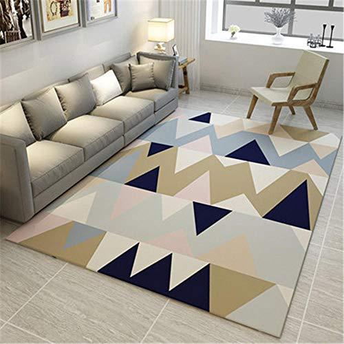 alfombra de gateo Beige Alfombra de sala de estar de estilo moderno alfombra beige con patrón de rayas geométricas antideslizante alfombras niñas habitacion infantil 80X120CM alfombras lavables en lav