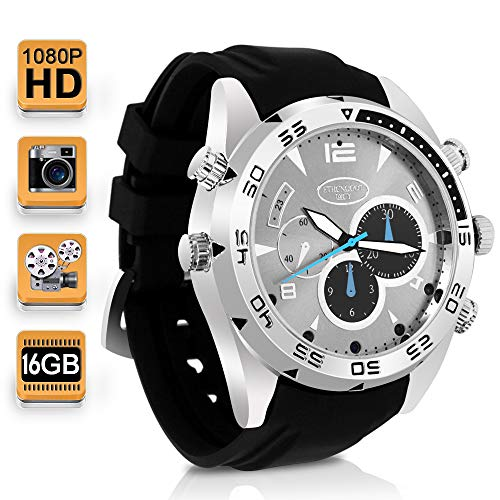 1080P HD Cámara Secreta Reloj Espía Vídeo Grabadora Apoyo Toma de Fotos y Grabación de Voz, Memoria Incorporada de 16GB