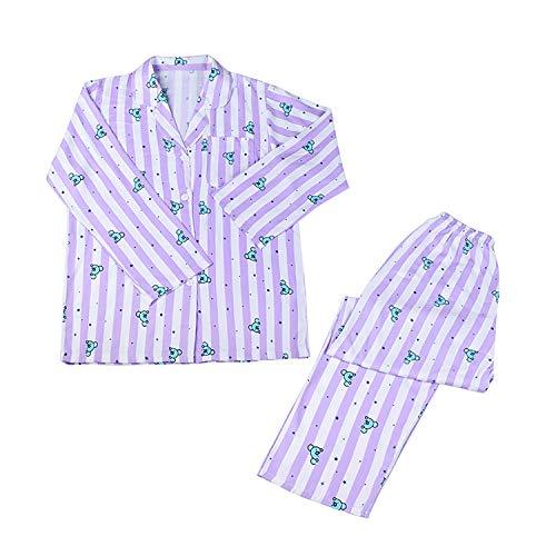Yicool KPOP Pijama Set BTS Cartoon Personajes Sleepwear Manga Larga Tops y Pantalones...