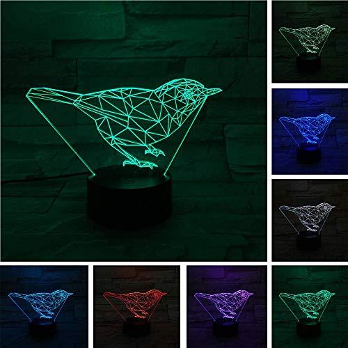 Lámpara de ilusión 3D Luz de noche LED Pájaro lindo Lámpara de escritorio de animales Lava Visual Mood 7 Cambio de color Niños Navidad Halloween Los mejores regalos de vacaciones de cumpleaños pa