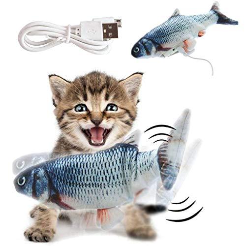 WZYJ Juguete de Gato de pez de simulación Recargable USB, Juguetes de Hierba gatera interactivos Divertidos - Mordedura de masticación y Gato Estimulante de Frolicat