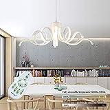 LED acrilico curva di luce di soffitto, luce LED dimmerabili 56W sospensione verniciato Max Design moderno LED Lampadari colore bianco 110-220V con telecomando YZPXDD (Colore : Stepless dimming)