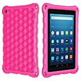 All-New Amazon Fire 7 Tablet Case for Kids, Ubearkk Light Weight Anti Slip Shock Proof Protective Cover Compatible with 9th/7th/5th Generation, 2019/2017/2015 Release (Pink)