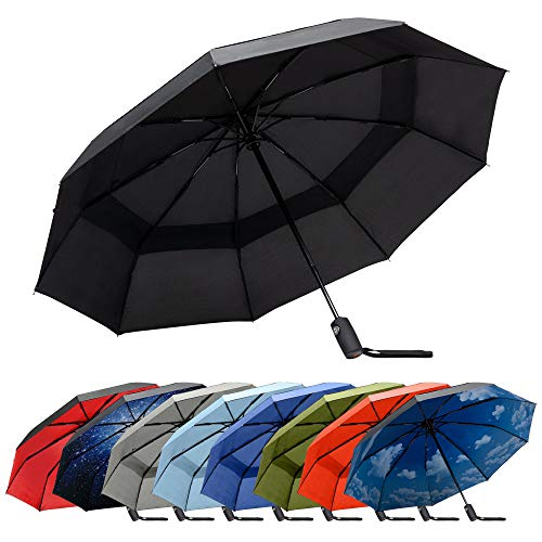 RainPlus Black Automatic Umbrella - Windproof Portable Umbrella Keeps You Safe and Dry in Any Weather - Personal Travel Size, Breeze to Use - Auto Open Close Shelter from the Rain