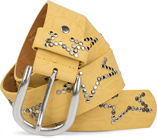 styleBREAKER studded belt met discreet sterrendesign en slangenprint in vintage-look, verkortbaar, unisex 03010054