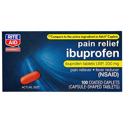 Rite Aid Coated Ibuprofen, 200 mg - 100 Caplets   Pain Reliever & Fever Reducer