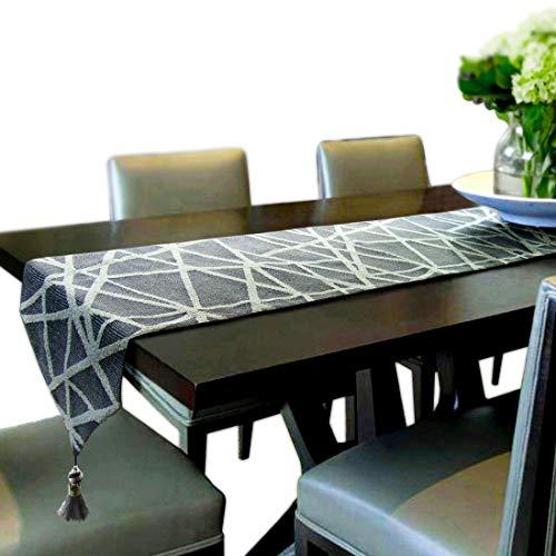 Artbisons Tischläufer Handgemachte Baumwollkünstlerische Spitzendekor-Speisetisch-Tuch-Tischläufer (241x33cm, Geometrie Tischläufer)