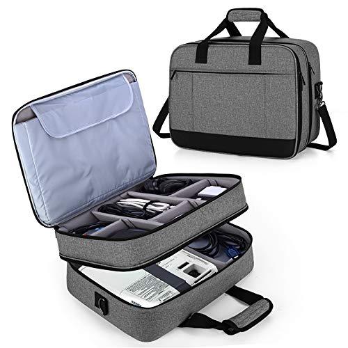 Luxja Beamertasche, Doppelschicht Projektortasche für Beamer und Zubehör, Beamer Reisetasche für Unterwegs, Büro, Office usw, Grau