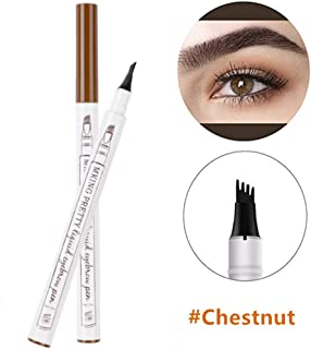 Elisabeh Tattoo Eyebrow Pen Waterproof with Four Tips, Long Lasting Smudge-Proof Natural Hair-Like Defined Brows All Day (Chestnut)