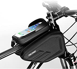 Skysper Bolsa de Bicicleta Ciclismo Bolsa Sillines Alforja Bolso Delantero del Tubo con Pantalla Táctil Impermeable para Teléfonos Móviles, Tablet, MP3, GPS inferior de 6 inches Negro