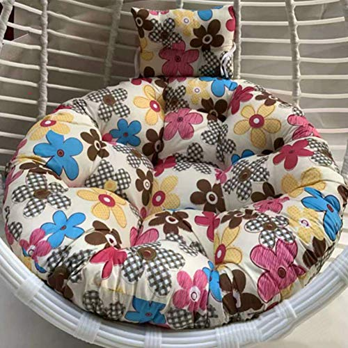 MWPO Silla Colgante Gruesa Cojín Swing Nest, Lavado extraíble Cómoda Almohadilla Redonda Asiento con Hamaca Egg Silla Acolchada Respaldo con Almohada-a 110x110cm (43x43 Pulgadas)