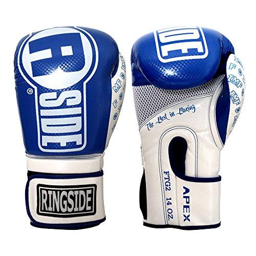 Ringside Apex Flash Boxing Training Sparring Gloves , BL/WH, 14 oz