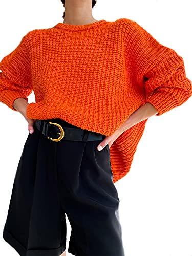 Nokiwiqis Suéter de manga larga de punto de gofre para mujer, cuello redondo, color sólido, jersey de gran tamaño, naranja, S