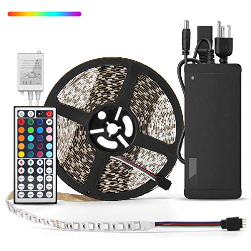 HOMELYLIFE 32.8ft RGB LED Strip Lights Non-Waterproof 300 LED SMD 5050 Tape Light Color Changing Full Kit with 44 Keys IR Remote Control+24V Power Supply LED Lighting for Party Kitchen Indoor