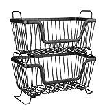 LOTTS 2 cestas apilables de alambre de metal para almacenar frutas, verduras y...