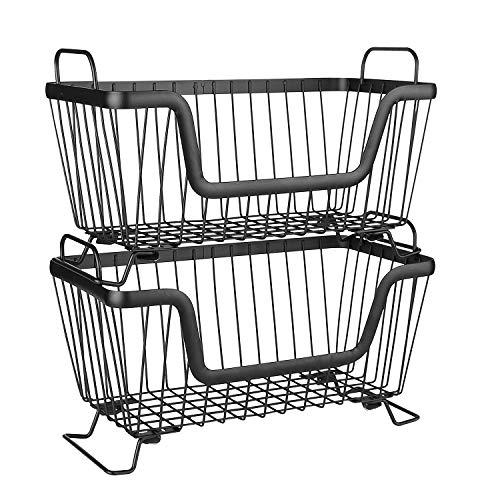 LOTTS 2 cestas apilables de alambre de metal para almacenar frutas, verduras y cocina, adecuadas para baños y oficinas (32 x 16 x 19,5 cm)