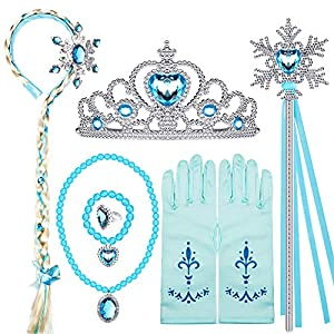 Elsa Princess Dress Up Accessories Frozen Jewelry Play Toy Set for Girls with Headband Braid Wig, Crowns, Necklaces, Wands, Rings, Bracelets Gloves Elsa Cinderella Costume Accessories
