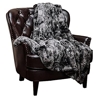 Chanasya Faux Fur Throw Blanket - Super Soft Fuzzy Light Weight Luxurious Cozy Warm Fluffy hypoallergenic Fleece Blanket for Bed Couch Sofa Chair (60  x 70 ) (Machine Washable)- Charcoal Grey