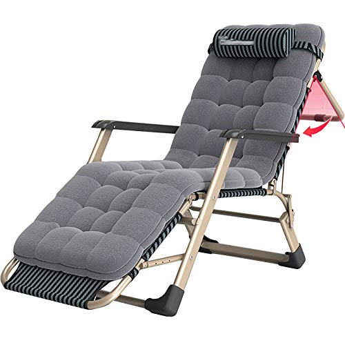 RPOLY Zero Gravity Lounge Chair, Outdoor Deck Chair Lounge Chair Adjustable Folding Camping Cot With Cushion Folding Recliner for Beach Outdoor Pool Patio Deck,Gray_178X28X68CM/70X11X27Inch