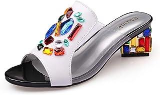 Cosplay-X Women Trendy Peep Toe Mid Block Heel Mule Slides Slip On Daily Walking Dress Sandal Slippers