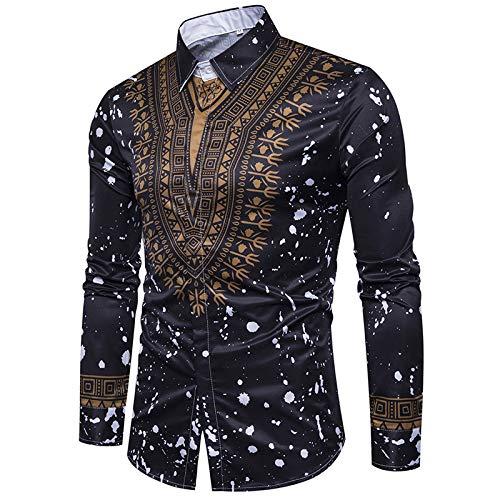 Camisa para Hombre, Personalidad de Moda, Pintura salpicada, Estilo tnico, Estampado, Empalme, Primavera y otoo, Solapa, Camisa de Manga Larga XXL