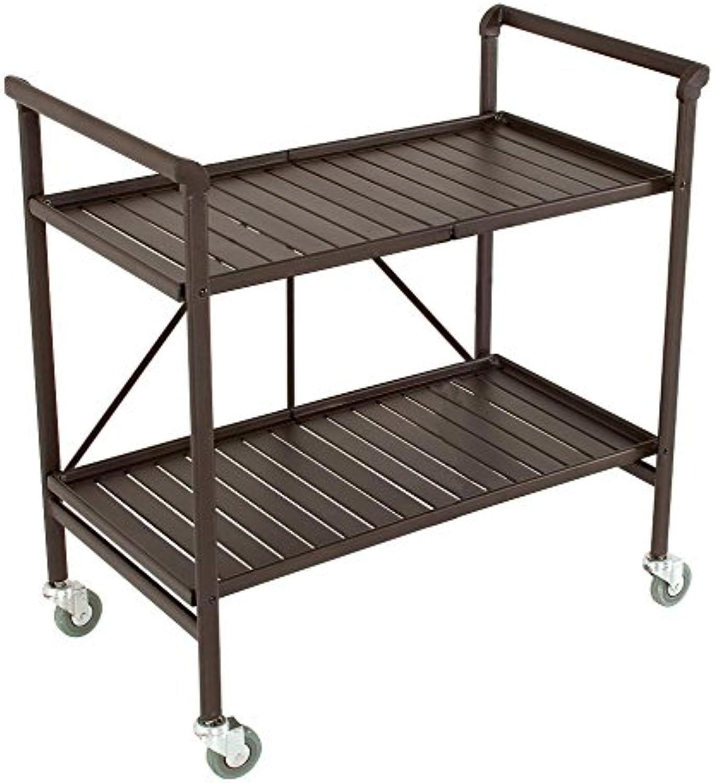 Cosco Indoor Outdoor Serving Cart, Folding, Brown