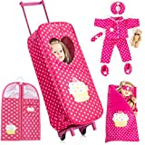 Beverly Hills Doll Collection 8 Piece Doll Traveling Trolley Set fits 18' American Girl Doll Includes Pajamas, Sleeping Bag, and Accessories Doll Not Included