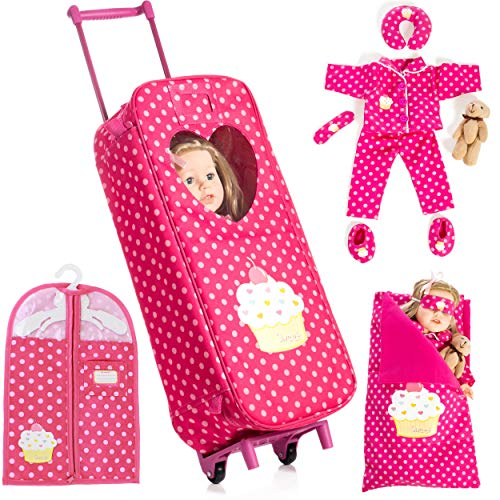 """Beverly Hills Doll Collection 8 Piece Doll Traveling Trolley Set fits 18"""" American Girl Doll Includes Pajamas, Sleeping Bag, and Accessories Doll Not Included"""