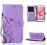 SMTR Coque ASUS Zenfone 4 Max ZC520KL (5.2 Pouce) Retro Dlowers Pattern Design Coque PU Cuir Flip Housse Étui Cover Case Wallet...