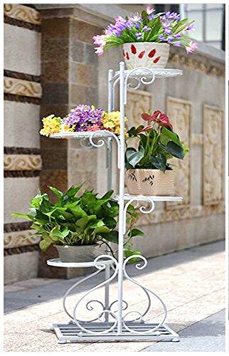 QFF Style européen jardin fleur cadre fer vert laqué bleu fleur stand type de plancher indoor multi-étages fleur rack balcon multi-fleur fleur pot rack ( Couleur : Blanc )