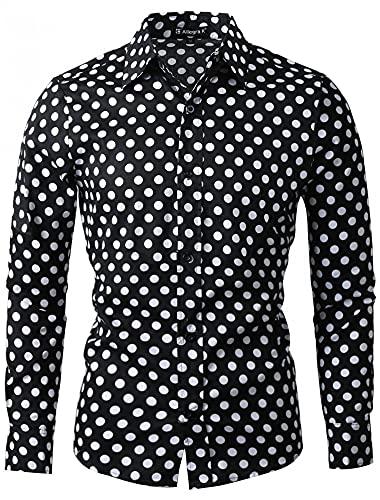 uxcell Men's Shirts Polka Dots Long Sleeve Slim Fit Printed Dress Button Down Shirt 38 Black