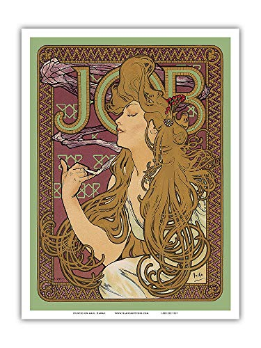 Pacifica Island Art - JOB Cigarette Paper - Vintage Advertising Poster by Alphonse Mucha ca. 1897 - Master Art Print - 9in x 12in