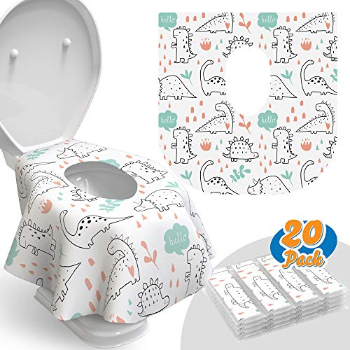 Toilet Seat Covers Disposable - 20 Pack - Waterproof, Ideal for Kids and Adults – Extra Large, Individually Wrapped for Travel, Toddlers Potty Training in Public Restrooms (Dinosaurs, 20)