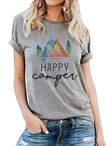 ZJP Women Casual Crew Neck Short Sleeve Happy Camper Letter Print Shirt Tops Tee